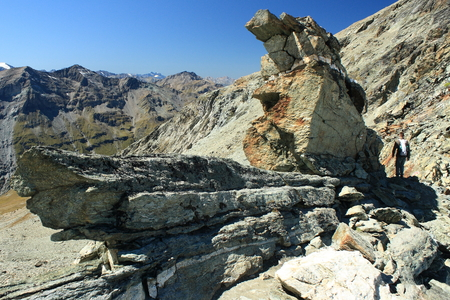 rock formation in Val d Anniviers, Switzerland photo