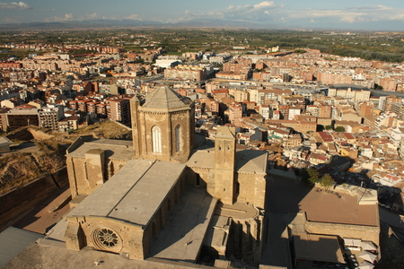 aerial view of La Seu Vella cathedral in Lleida 스톡 콘텐츠