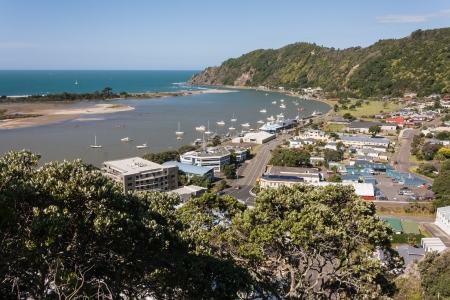 aerial view of Whakatane town and river