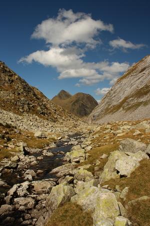 aran: stream and peaks in Val d Aran - Catalonia