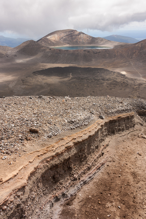 eroded slope in Tongariro National Park  photo