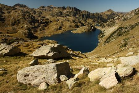 view of lake Obago, Pyrenees Stock Photo