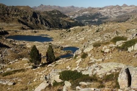 aran: glacial lakes in Val d Aran, Pyrenees Stock Photo