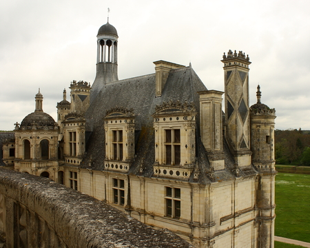 aerial view of Chateau de Chambord, France Editorial