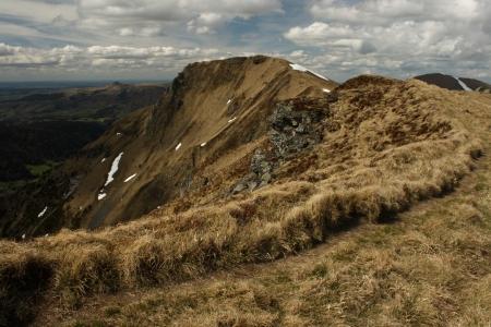 massif: footpath to puy de sancy in france