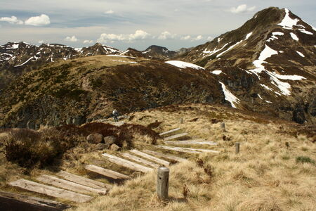 wooden footpaht at Puy Mary