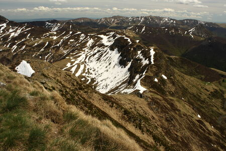 cantal: mountain ranges in monts du cantal Stock Photo