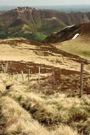 cantal: footpath in monts du cantal, france Stock Photo
