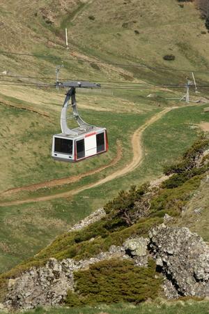cantal: cable car at plomb du cantal - massif central