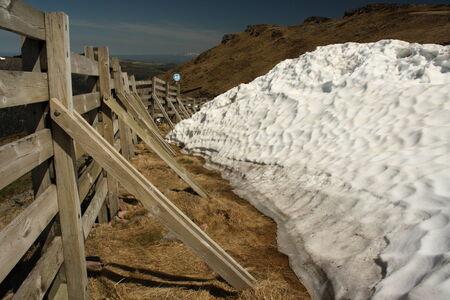 cantal: melting snow at plomb du cantal ski resort