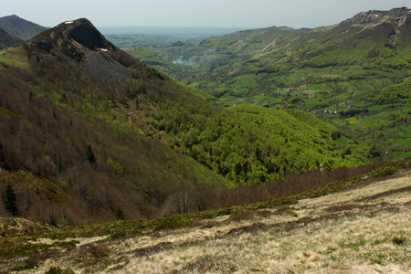cantal: springtime in valley in Monts du Cantal