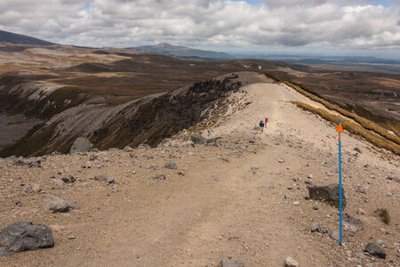 tongariro national park: walkers on track in Tongariro National Park Stock Photo