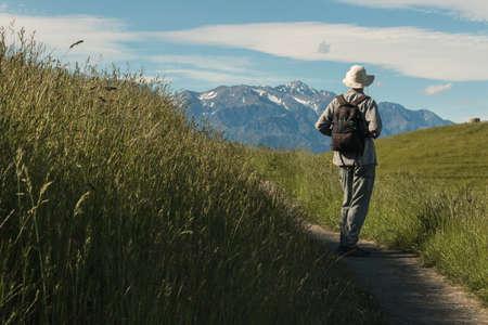 walker admiring alpine peaks