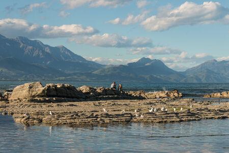 kaikoura: tourists sitting on rocks at Kaikoura coast