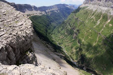 ordesa: Aerial view of Valle de Ordesa in Aragon Pyrenees