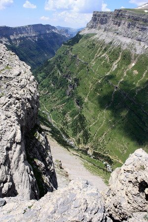 ordesa: Valle de Ordesa from bird s view Stock Photo