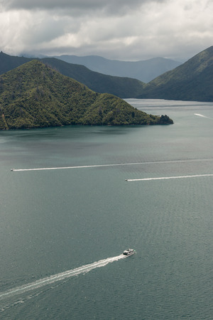 boats sailing across Queen Charlotte Sound photo