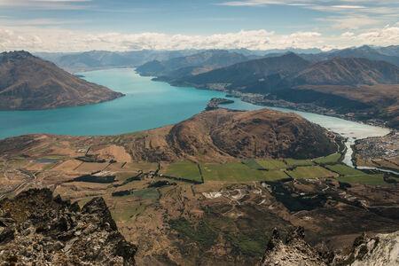 wakatipu: aerial view of lake Wakatipu in New Zealand