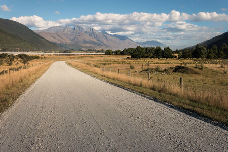 gravel road in Southern Alps, New Zealand photo