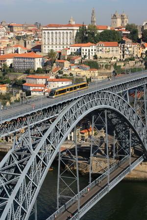 oporto: light rail bridge in Oporto - Portugal