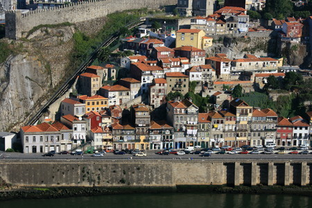 shanty: aerial shot of riverside with shanty houses in Oporto, Portugal Editorial