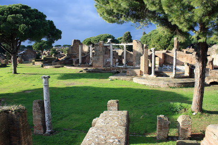 ruins of ancient temple in Ostia Antica, Italy