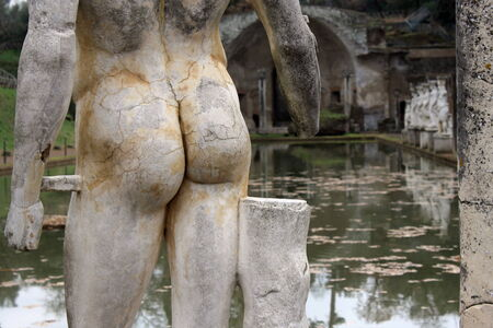 detail of greek statue at Hadrian s villa in Tivoli photo