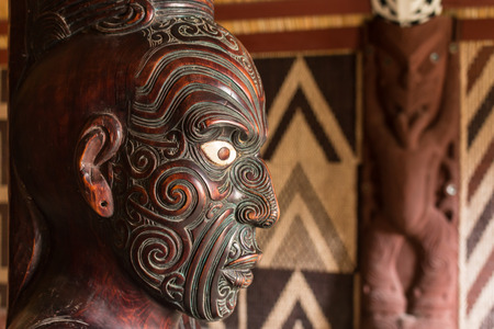 detail of Maori carving  photo