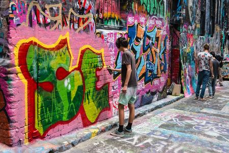 graffiti in Hosier Lane, Melbourne 에디토리얼