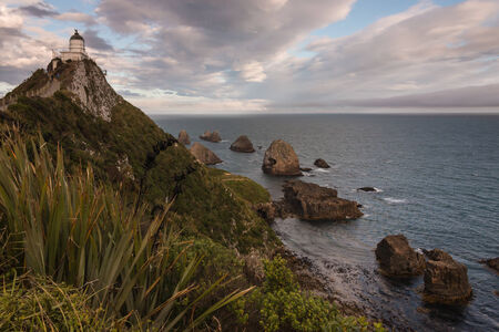 Nugget Point lighthouse, New Zealand photo