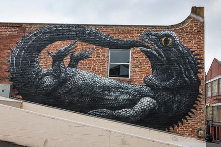 Tuatara graffiti in Dunedin, New Zealand