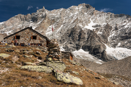 swiss alps: mountain hut in Swiss Alps