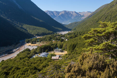mountain ranges: aerial view of Arthur s Pass village in New Zealand