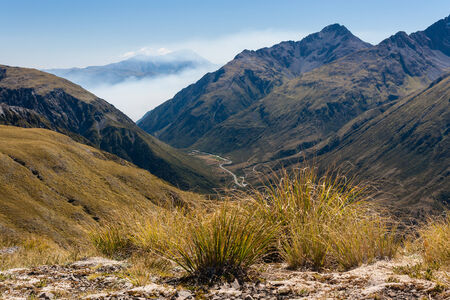 inversion: cloud inversion above Arthur s Pass National Park, New Zealand
