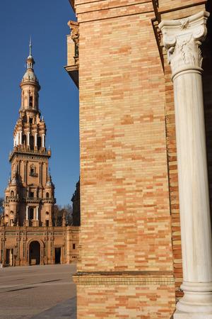 espana: South Tower at Plaza de Espana in Seville Editorial