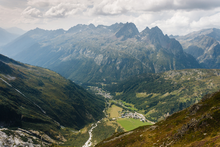 aerial view of Chamonix valley