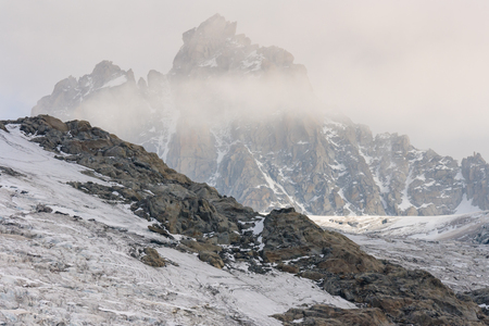 obscured: alpine peaks obscured by clouds Stock Photo