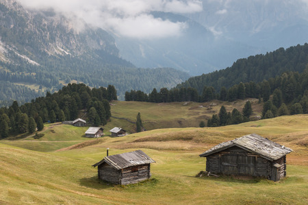 timbered: timbered barns in Dolomites Stock Photo