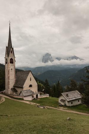 gardena: St Jacob church above Val Gardena in Dolomites Stock Photo