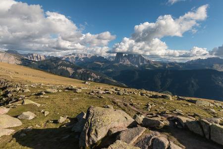 gardena: mountain peaks above Val Gardena, Dolomites Stock Photo