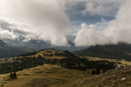 gardena: aerial view of Val Gardena in South Tyrol