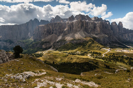 sella: panoramic view of Sella Group in Dolomites Stock Photo