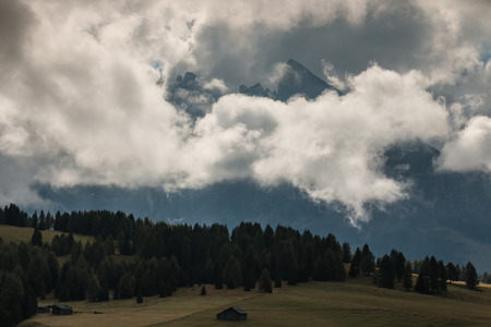 val: cloud inversion above Val Gardena in Dolomites