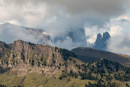 inversion: cloud inversion in Dolomites Stock Photo