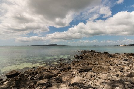 aotearoa: long white clouds above Rangitoto Island