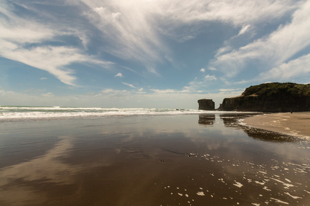 low tide: Muriwai beach at low tide Stock Photo