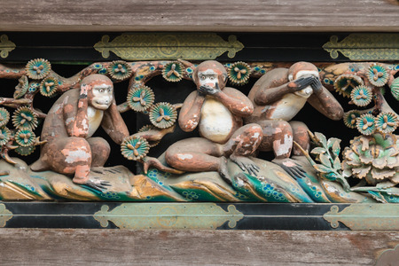 three wise monkeys in Toshogu shrine, Nikko Stock Photo