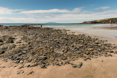 low tide: Omaha Bay beach at low tide Stock Photo