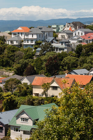 Wellington suburb with traditional wooden houses 스톡 콘텐츠