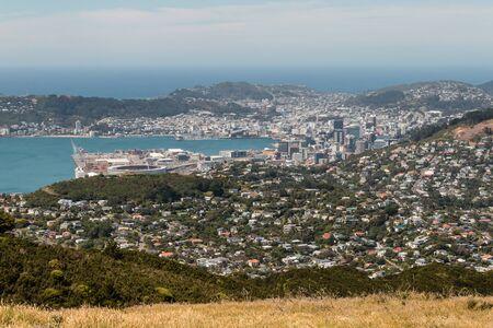 ニュージーランドのウェリントン港の航空写真